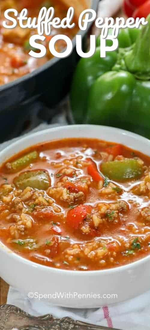 Stuffed Pepper Soup is easy to make with ground beef, sausage, green and red bell peppers and rice. It freezes well and reheats beautifully! #spendwithpennies #stuffedpeppers #stuffedpeppersoup #stuffedgreenpeppersoup #bellpeppersoup #beefandrice