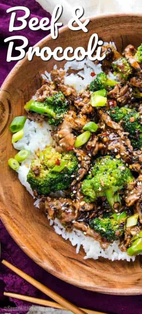 Oh so savory with a little sweetness and kick of heat, this beef and broccoli stir fry will soon be your favorite weeknight meal! #spendwithpennies #easyrecipe #easydinner #withbeef #withbroccoli #chineserecipe #takeout #stirfry #simpledinner