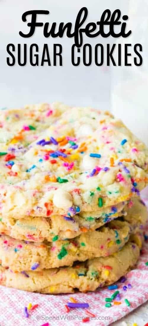 These soft baked, chewy, bakery style Funfetti Sugar Cookies are the ultimate cookie. They are super soft, loaded with tons of sprinkles, taste sweet and buttery, but aren't at all greasy, and are very easy to make. #funfetticookies #spendwithpennies #whitechocolatecookies #funfetti #cookies #butterycookies #easyrecipe