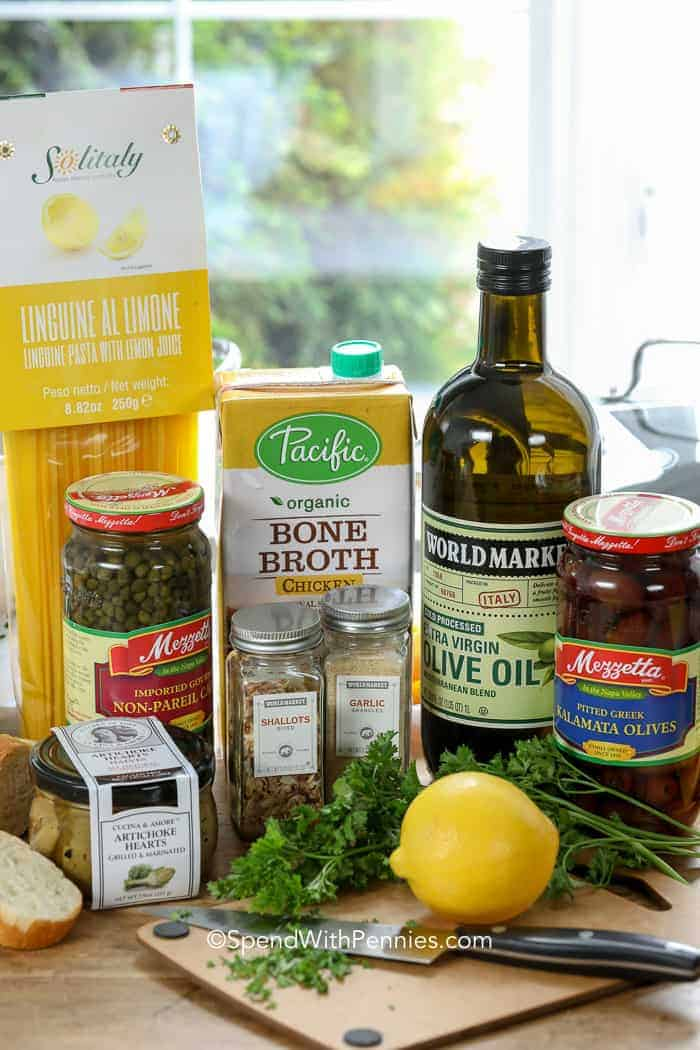 A selection of ingredients used to create lemon shrimp linguine, the best shrimp pasta ever!