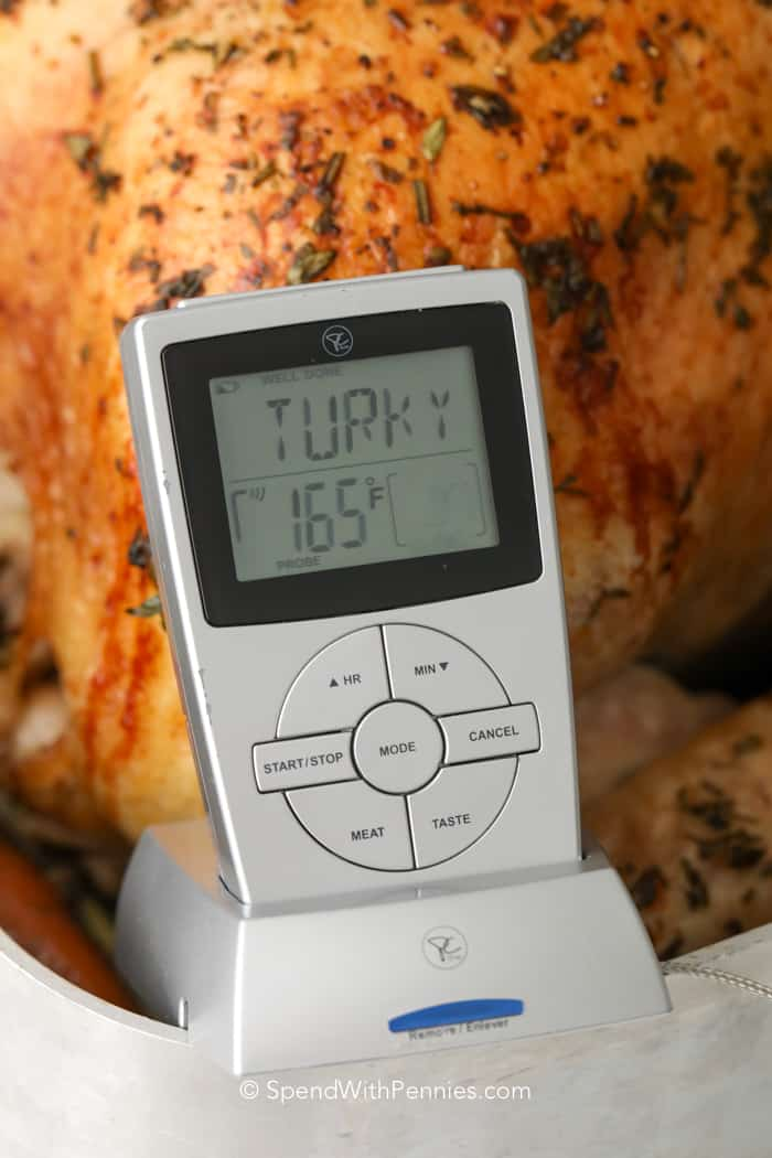 Close up of a digital thermometer in a roasted turkey showing the internal temperature of 165°F.