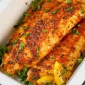 Cooked Blackened Tilapia in baking dish