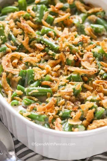Green Bean Casserole in a white baking dish