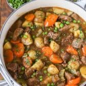 Overhead shot of Homemade Beef Stew in big pot