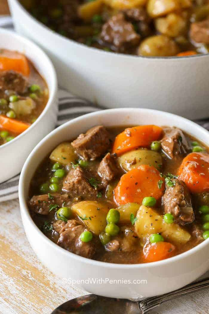 Tender beef stew with big chunks of carrots, beef, potatoes, and peas.