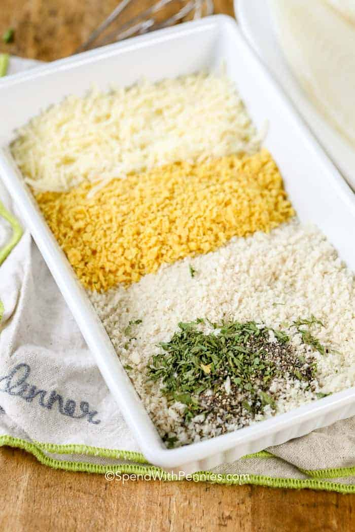 Dish of parmesan crust ingredients of tilapia