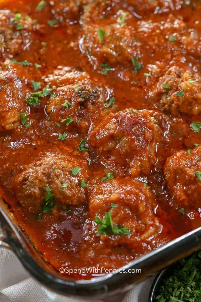 A pan of Porcupine Meatballs - the perfect make ahead meal