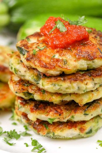 Stacked Zucchini Pancakes