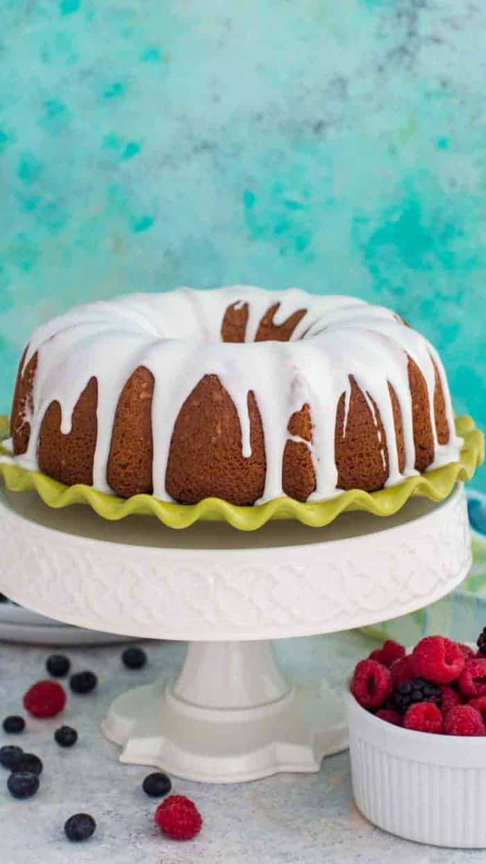 Whole Vanilla Bundt Cake on tall serving platter