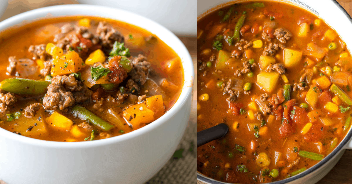 Easy Hamburger Soup Spend With Pennies