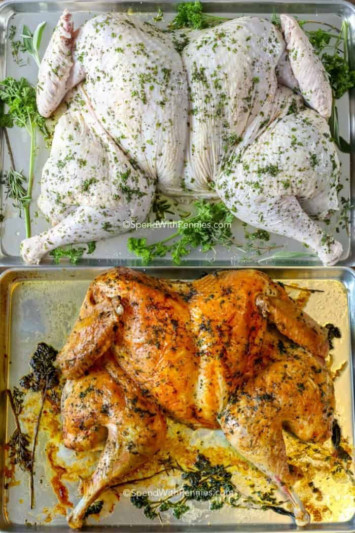Before and after of a crispy roasted spatchcock turkey with fresh herbs and olive oil.