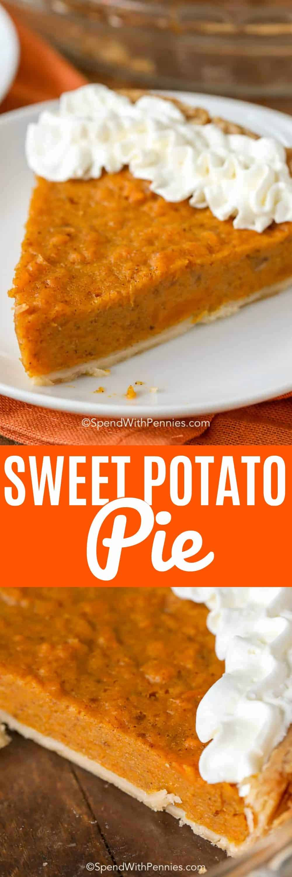 This is the best Sweet Potato Pie recipe you have ever tried! Not only is it incredibly easy to make but the flavor is just perfectly spiced and yet deliciously mild! #spendwithpennies #sweetpotato #sweetpotatopie #festivedessert #holidaydessert #easypie #pierecipe #easyrecipe #fromscratch