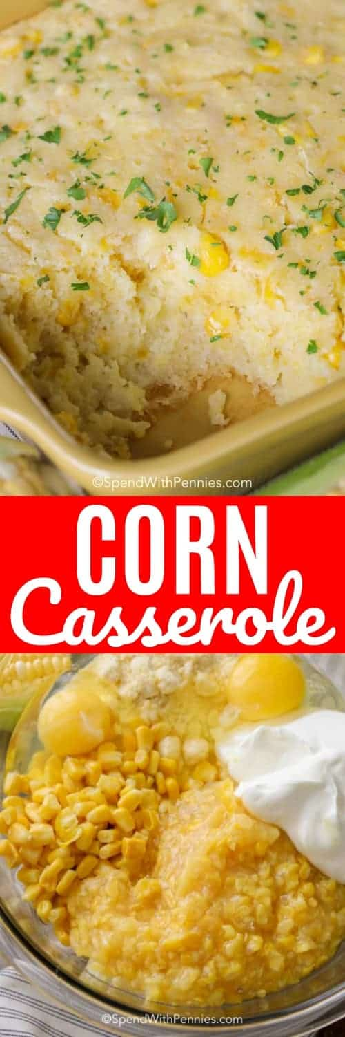 Corn casserole is the perfect Thanksgiving side dish, we love making it for just about any occasion! #spendwithpennies #corn #corncasserole #easycorncasserole #casserole #creamedcorn #cornbread