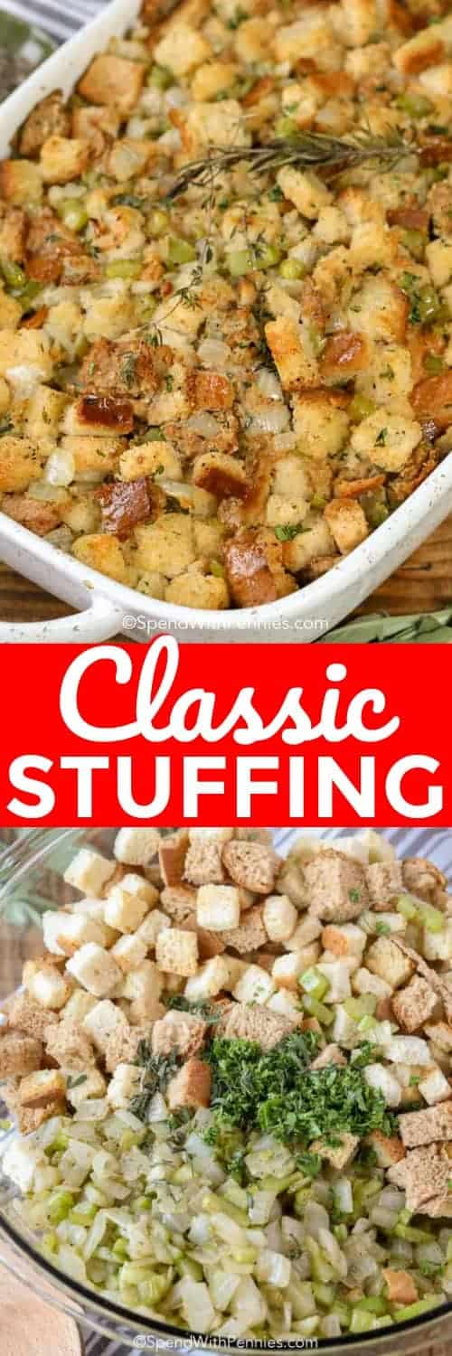 This easy stuffing recipe is the perfect side dish for any holiday or Thanksgiving dinner! Stuffing is one of my favorite dishes! #spendwithpennies #stuffing #stuffingrecipe #turkeystuffing #turkeydinner #thanksgiving