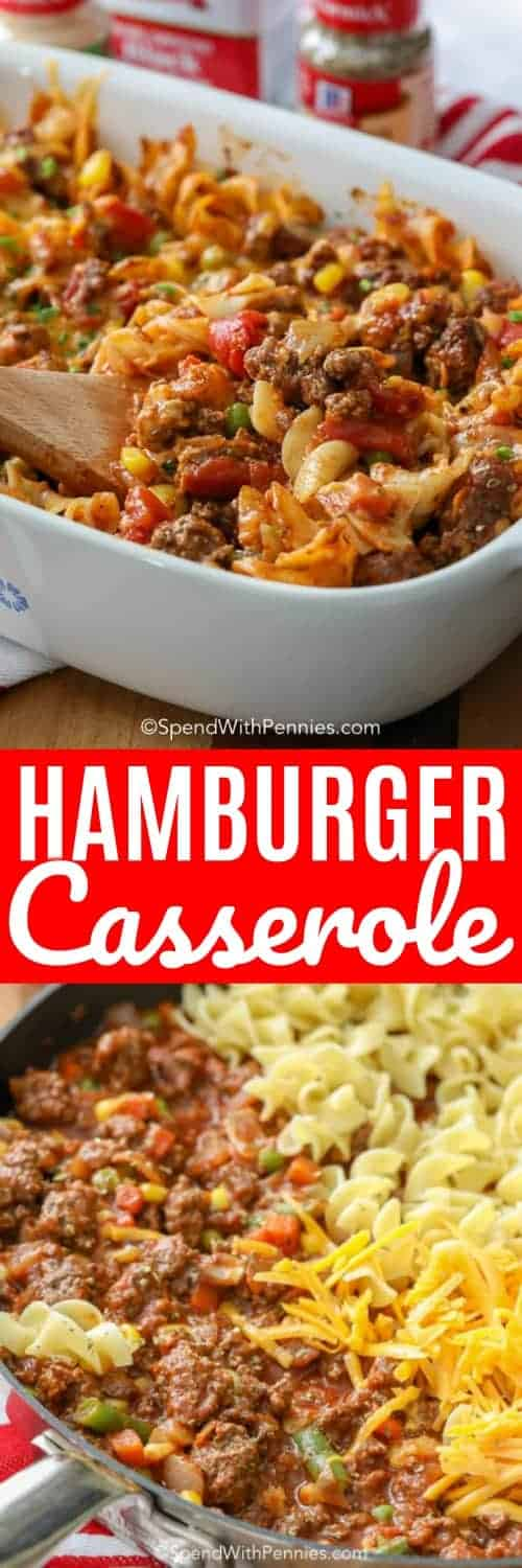 Hamburger Casserole is an honest to goodness quick and easy meal! Using quality ingredients like lean ground beef, pasta sauce, tomatoes and of course my favorite spices, you know the end result is going to be over the top tasty! #spendwithpennies #hamburgercasserole #groundbeef #withtomatoes #withnoodles #eggnoodlecasserole #casserole #groundbeefcasserole #cheesycasserole #easyrecipe #homemade