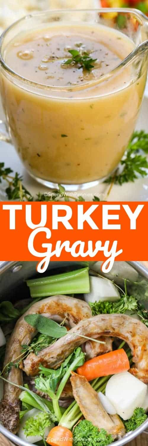 This Turkey Gravy Recipe uses a super easy, pre-cooked gravy base along with deliciously browned turkey drippings to make the best turkey gravy you have ever tasted! #spendwithpennies #easyrecipe #turkeygravy #gravy #easygravy #makeahead #holidayrecipe #sidedish #easysidedish