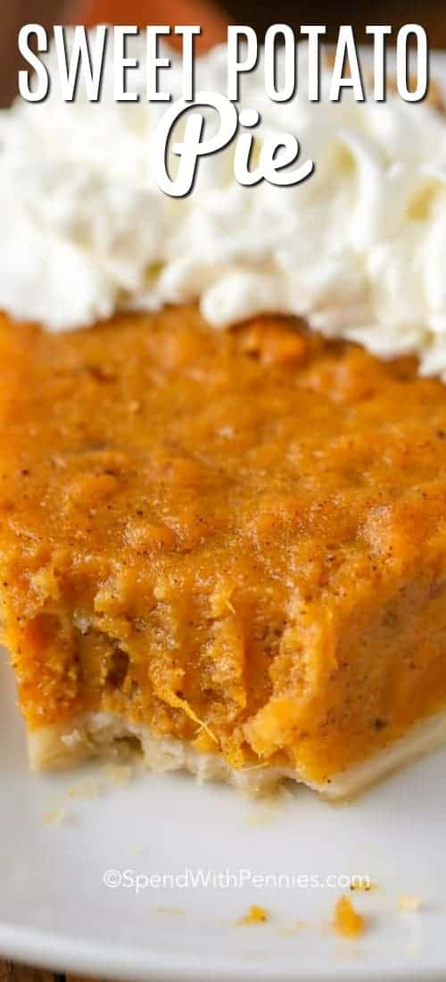 Sweet Potato Pie is a deliciously rich and heavenly dessert that will fit in perfectly at your Thanksgiving table this year! #spendwithpennies #sweetpotato #sweetpotatopie #festivedessert #holidaydessert #easypie #pierecipe #easyrecipe #fromscratch