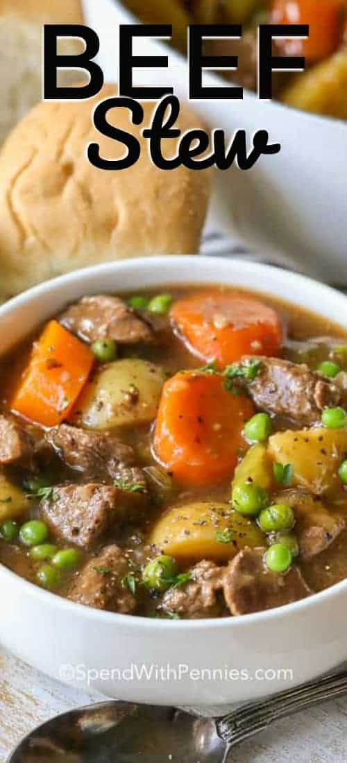 White bowl of Beef Stew with a title