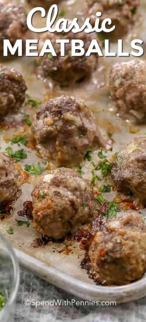 This is my all time favorite easy meatball recipe! They're easy to make and perfect for spaghetti and meatballs, meatball subs or adding to soups or stews. #spendwithpennies #meatball #meatballs #meatballrecipe #groundbeef #beef