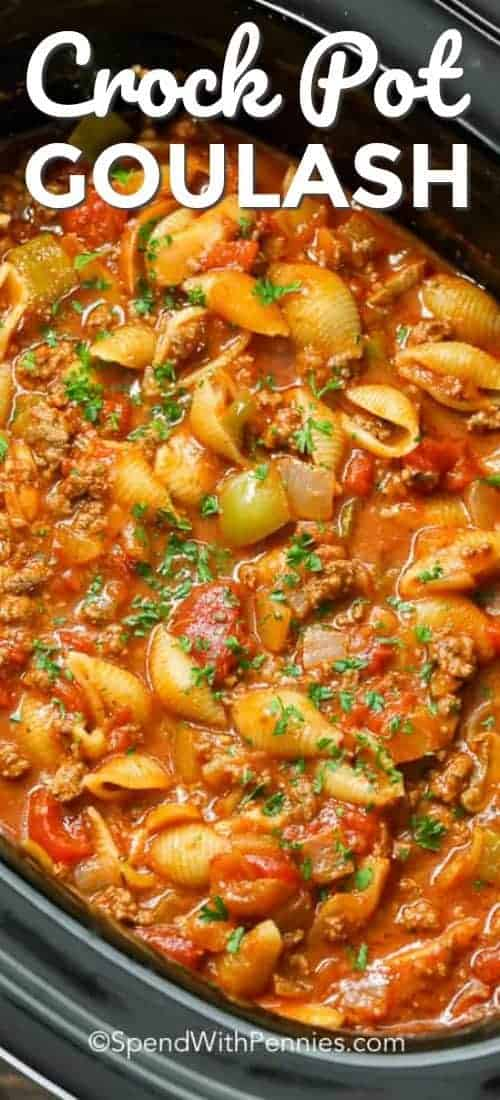 CrockPot Goulash prepared in a crock pot