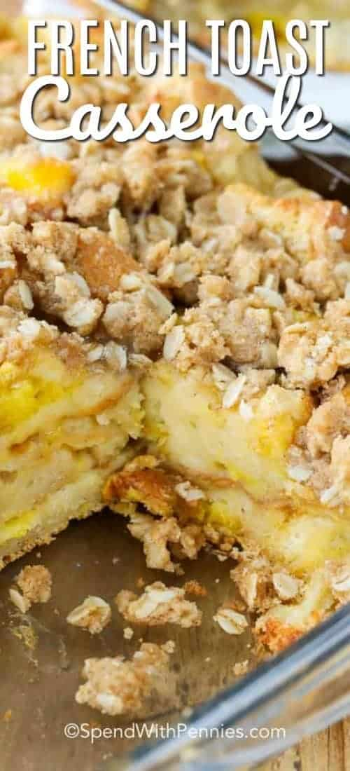 Baking dish of French Toast Casserole with a title