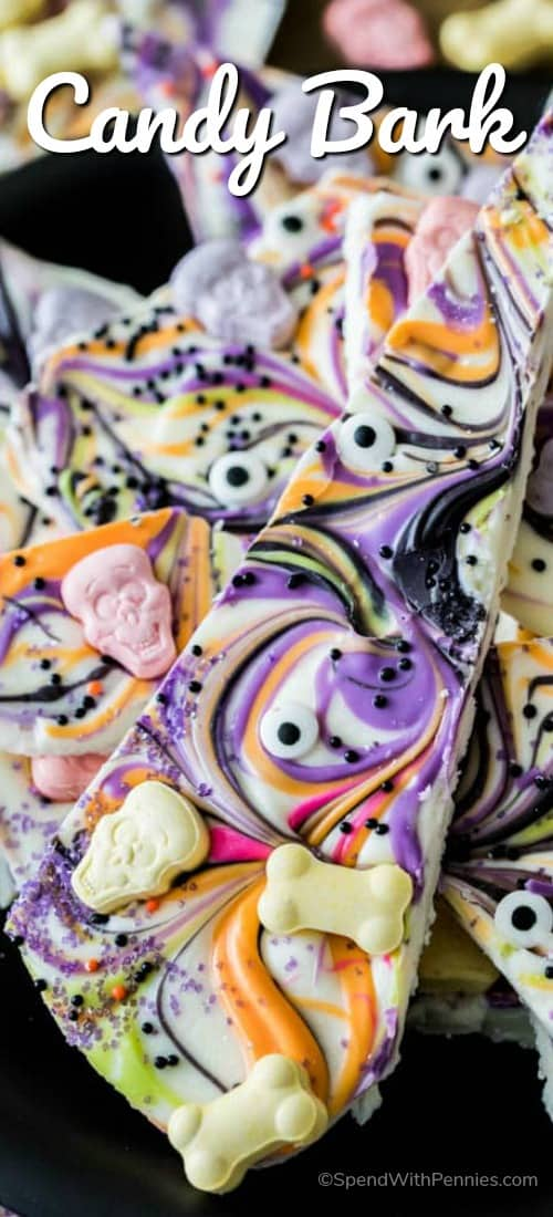 Overhead shot of Halloween Candy Bark with a title