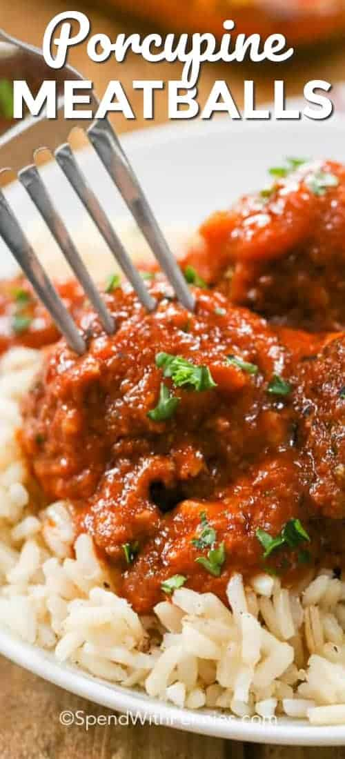 Porcupine Meatballs have onions, rice and ground beef formed into balls and cooked in a rich tomato sauce. I can't wait to make these for my family again! #spendwithpennies #meatballs #easyrecipe #easymeatballs #groundbeef #tomatosauce