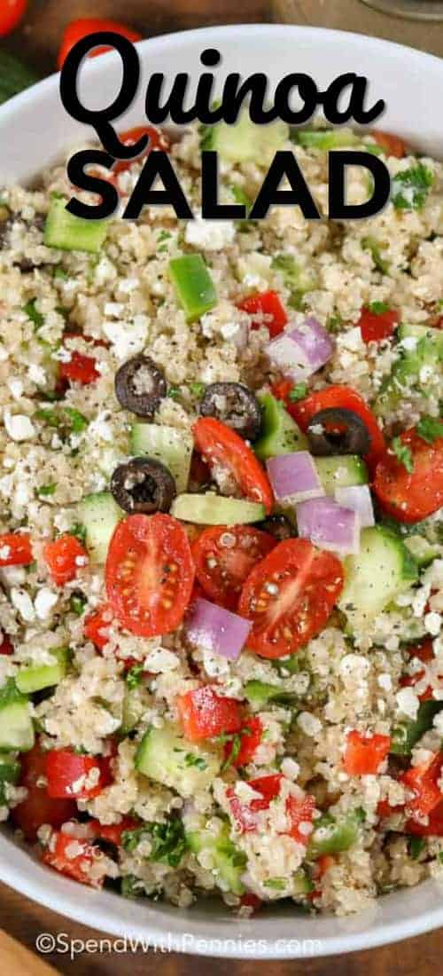 Greek quinoa salad topped with feta and olives is one of our favorite meals! It's perfect for lunch or as a light make ahead dinner! #spendwithpennies #greeksalad #greekquinoasalad #quinoasalad #cucumbersalad #tomatosalad #cucumbertomatosalad