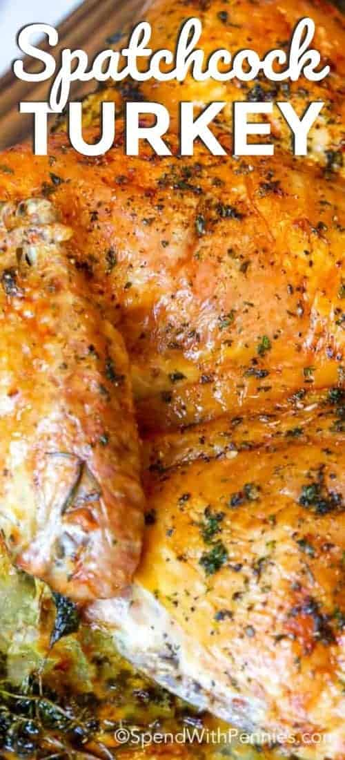 Spatchcock turkey cooked to a beautiful golden brown