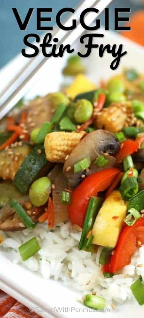 When time is tight, whip up these easy Stir Fry Veggies and have dinner on the table in minutes.  Even faster if you're a meal prepping pro on the weekend, just toss everything into the pot for a dinner that's faster than ordering take out. #spendwithpennies #stirfry #withvegetables #easyrecipe #makeahead #sidedish #maincourse