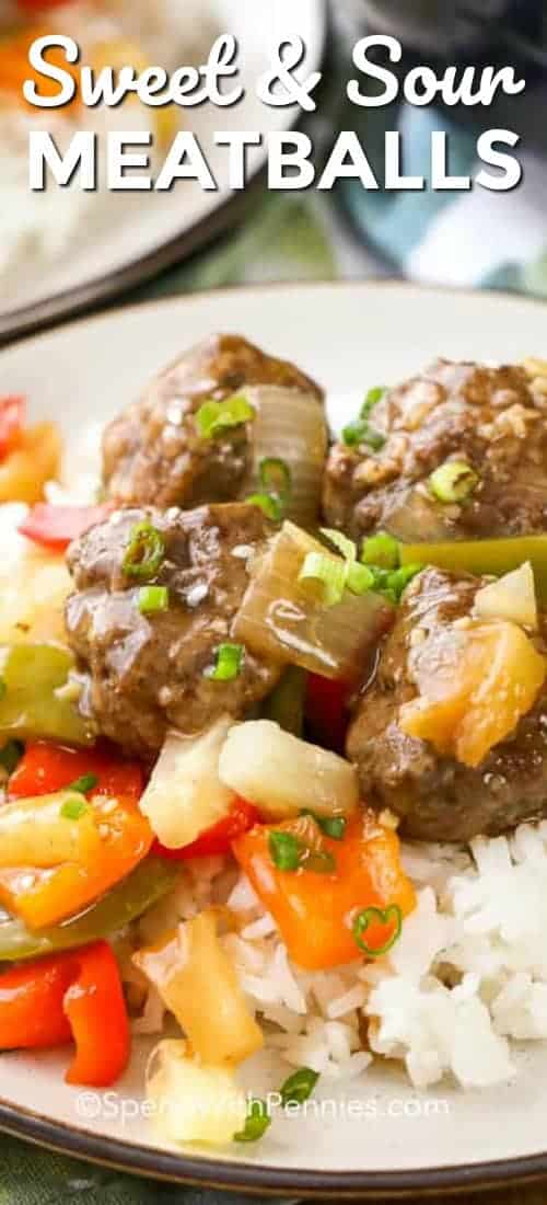 Sweet and sour meatballs are a quick and easy meal. Baked meatballs, tender crisp veggies and a sweet and tangy sauce make a tasty weeknight treat for your family. #spendwithpennies #meatballs #sweetandsour #easyrecipe #groundbeef #withveggies #withpineapple #makeahead #homemade
