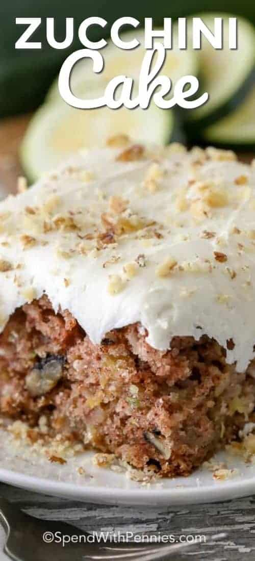 Zucchini Cake on a plate with a title