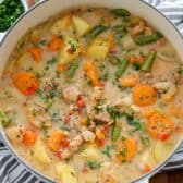 Overhead shot of Chicken Stew in a pot