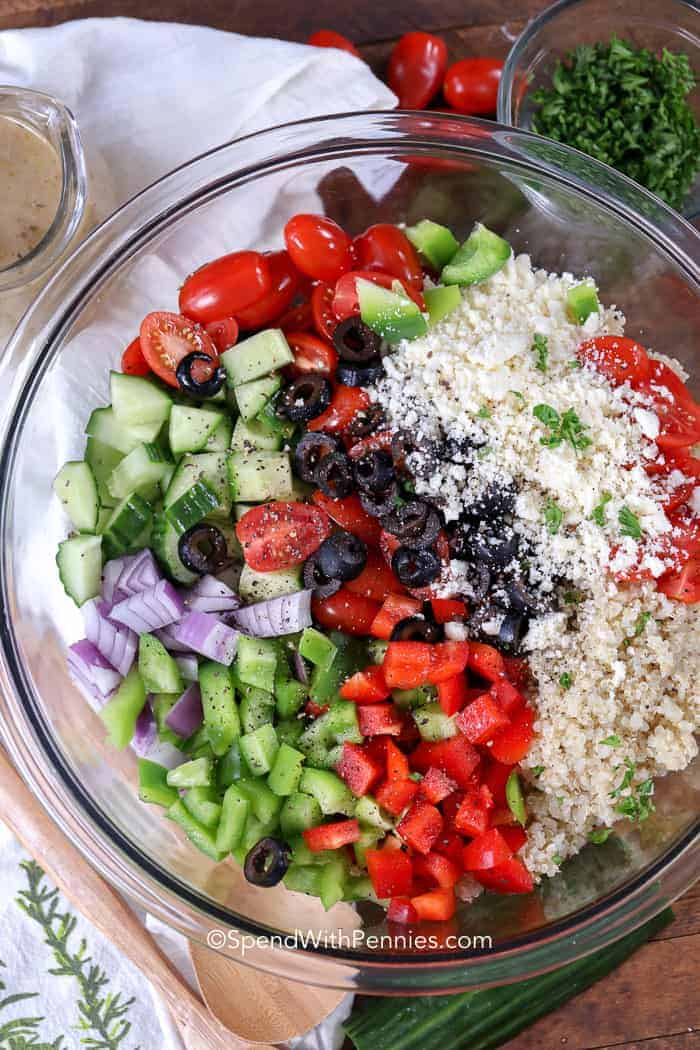Fresh ingredients for a homemade Greek Quinoa Salad
