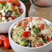 Greek Quinoa Salad in a white bowl