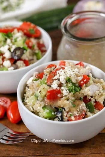 Greek Quinoa Salad in a white bowl