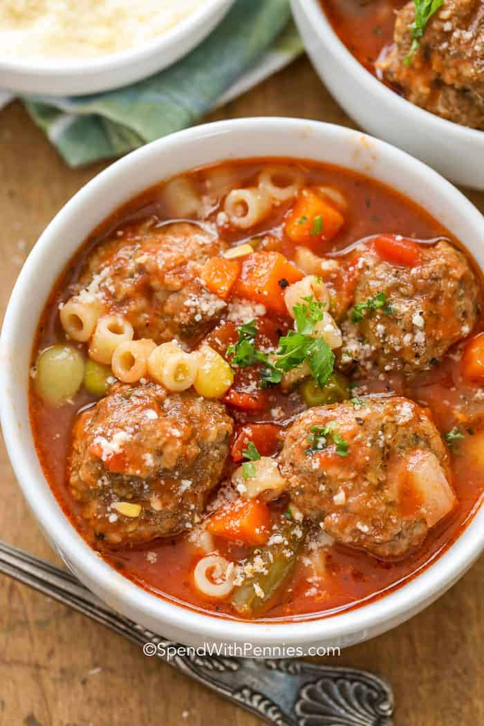 Overhead picture of Meatball Soup in a white bowl