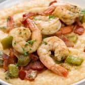 Shrimp and Grits in a white bowl