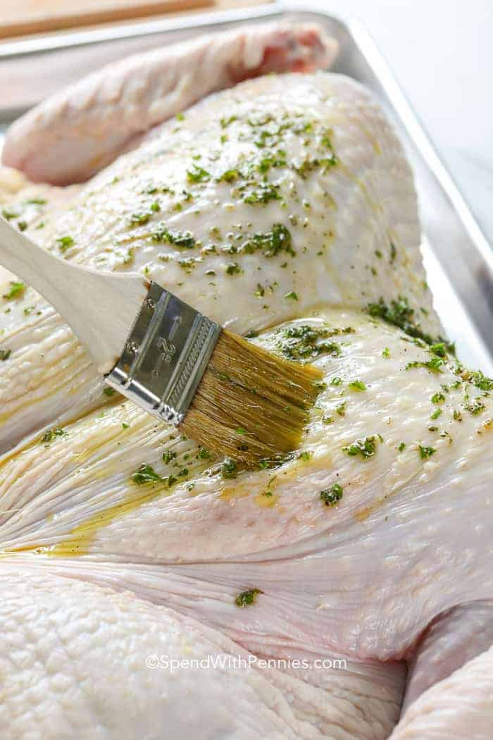 Basting Spatchcock Turkey before placing in the oven