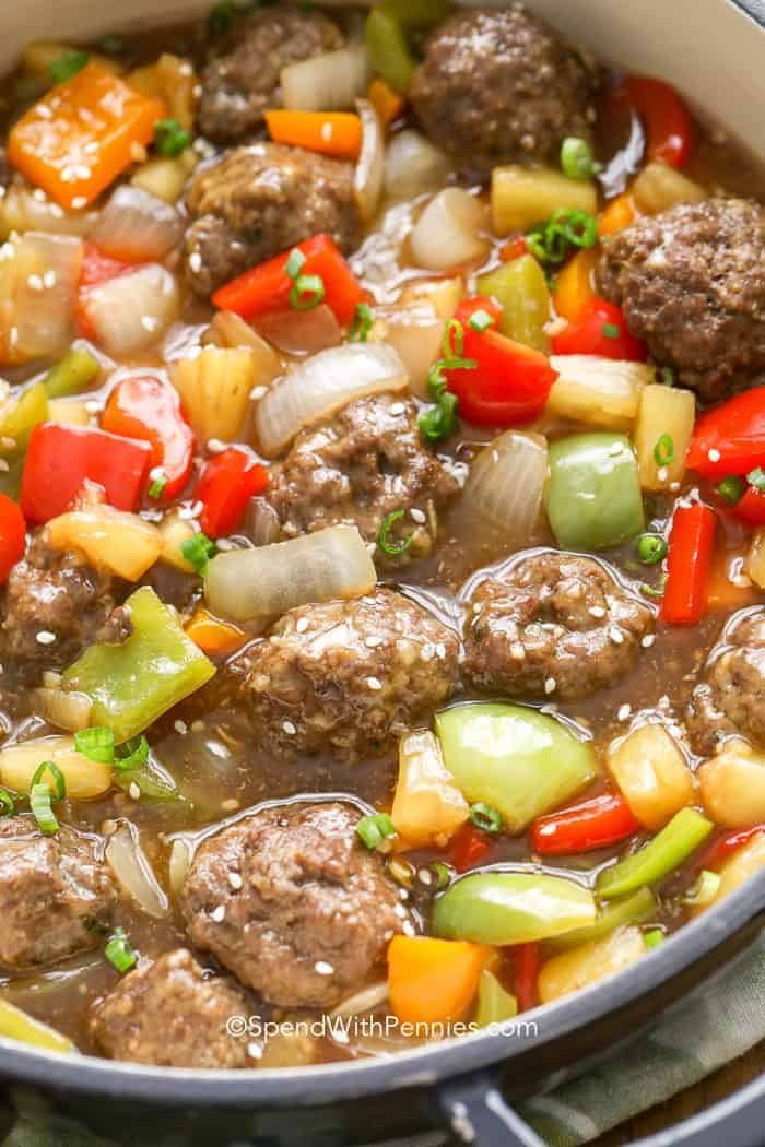Closeup of Sweet and Sour Meatballs in a pot