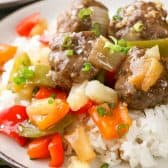 Sweet and Sour Meatballs on plate served over rice