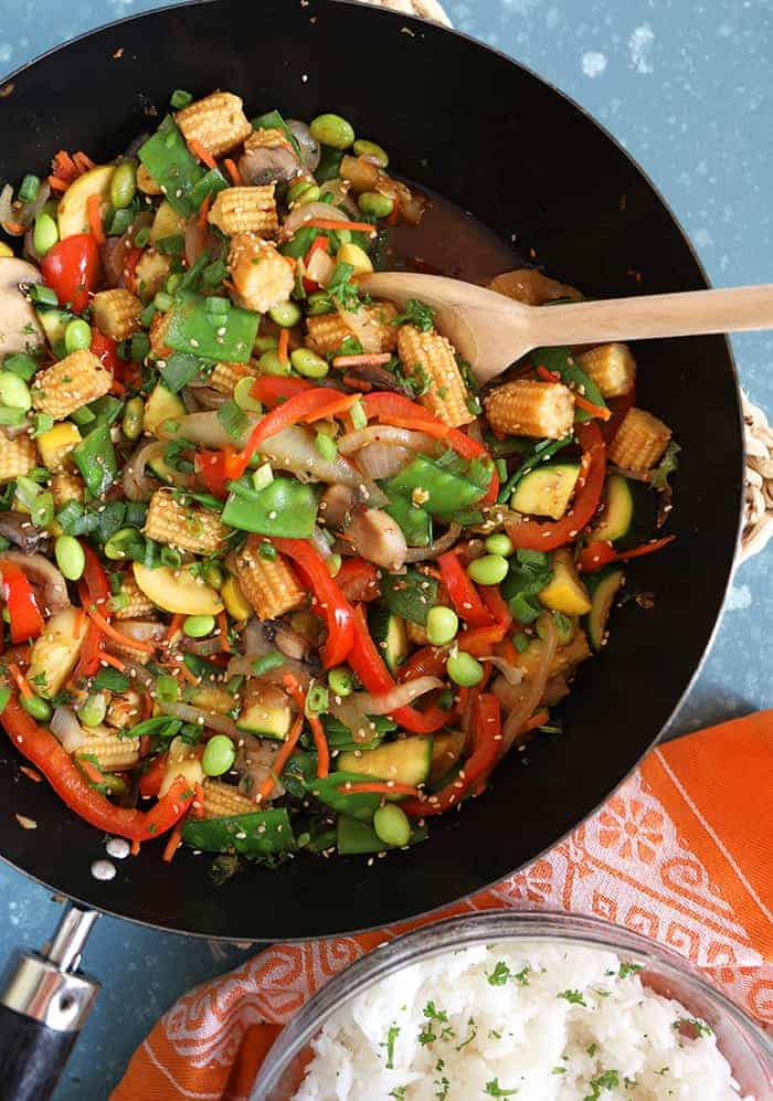 Cooking Stir Fry Veggies in a black pan