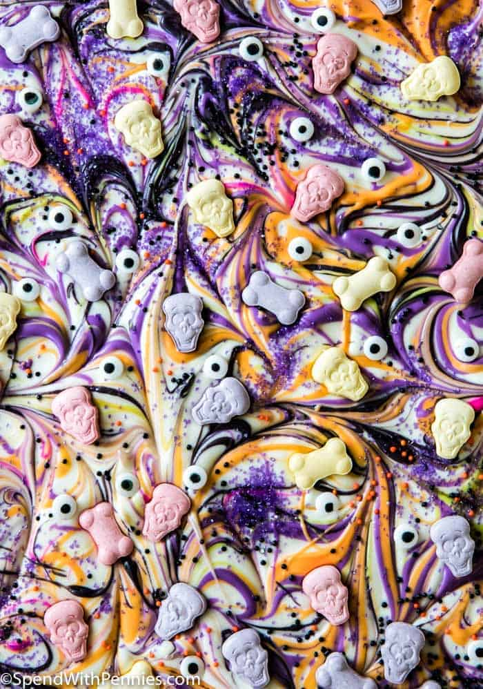 Overhead picture of Halloween Candy Bark