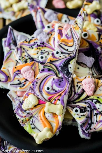 Halloween Candy Bark on a black plate