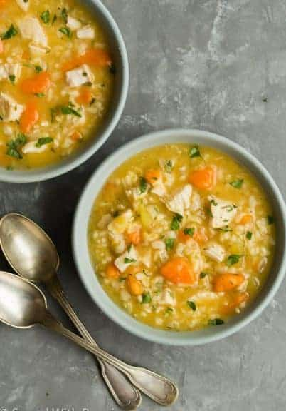 chicken and rice soup in bowls