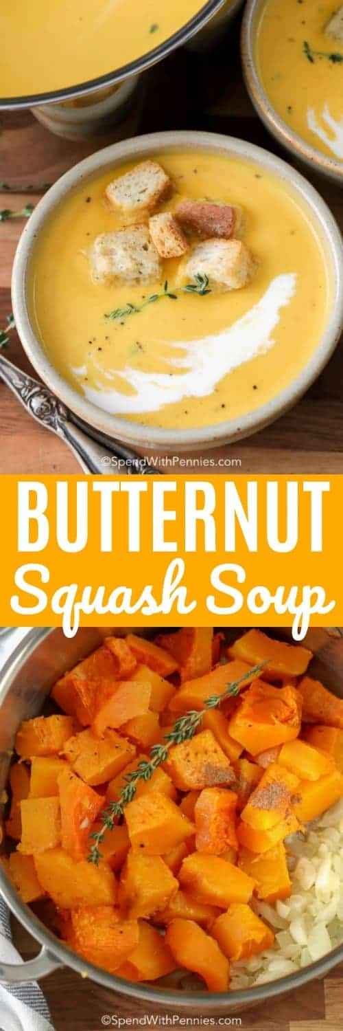 Butternut squash soup is one of our favorite autumn soup recipes! It is so smooth and creamy, the perfect way to stay warm! #spendwithpennies #butternutsquash #soup #butternutsquashsoup #squashsoup #bisque