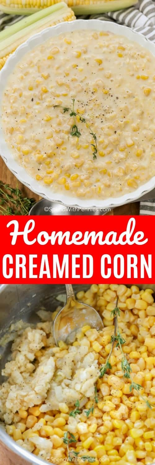 Creamed Corn is easy to make from scratch with fresh ingredients! Sweet tender corn kernels in a velvety cream sauce will become your favorite side dish! #spendwithpennies #sidedish #creamedcorn #cornrecipe #homemadecreamedcorn #freshcorn #turkeydinner #thanksgivingside