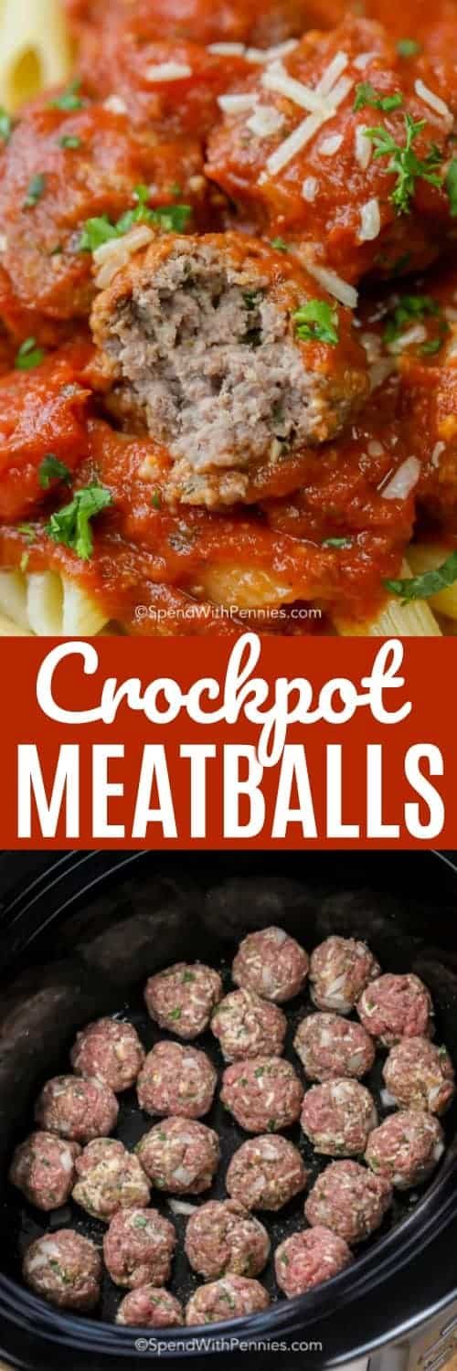 Crockpot Meatballs are an effortless way to prepare tender and delicious meatballs! No need to pre brown these meaty morsels, they cook perfectly right in the crock pot. Sauced up with a rich and chunky tomato sauce and you have an authentic Italian style meal, easy as pie! #spendwithpennies #crockpot #meatballs #crockpotmeatballs #easyrecipe #meatballrecipe #italianmeatball #makeahead #meatballswithsauce