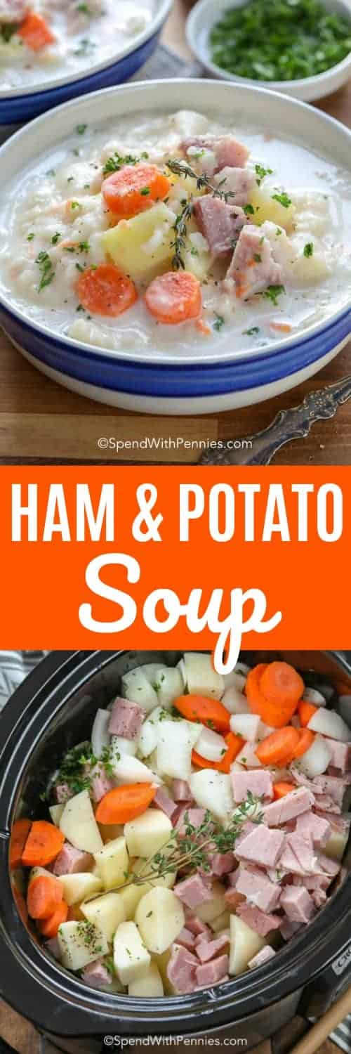This creamy ham and potato soup is easily made in the slow cooker, so dinner is ready when you are. It's the perfect way to use up your leftover ham! #spendwithpennies #ham #potatoes #potatosoup #hamandpotatosoup #slowcooker #slowcookersoup #soup #comfortfood