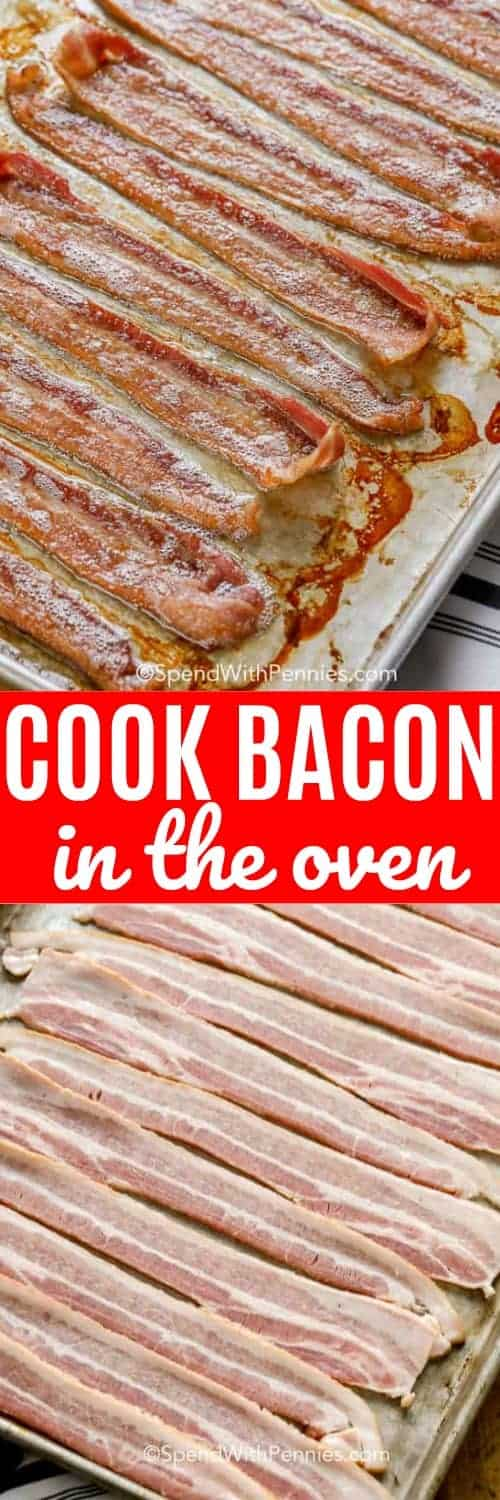 This is the easiest way to prepare bacon in the oven ever! It comes out so crispy every time! #spendwithpennies #bacon #ovenbacon #baconintheoven #breakfast #pork